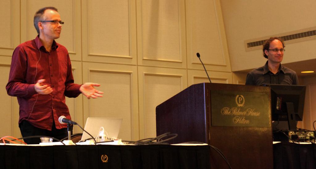 Keynote-Speaker Kenneth Holmquist and Daniel Weiskopf at the ETVIS 2015 Workshop in Chicago