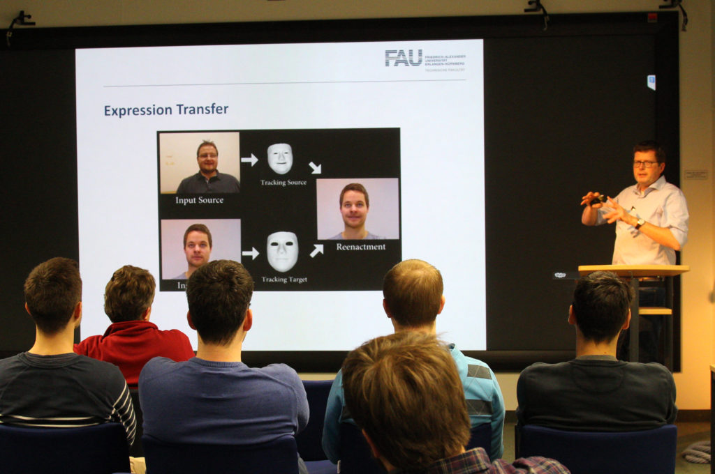 Marc Stamminger refered about how to capture the live mimic of an actor with a regular webcam.
