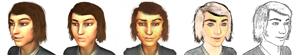 The emotion happiness shown by a female virtual character rendered realistic (left) and in different stylized variants.