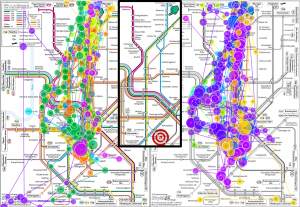 Gaze plots for a colored metro and a grayscale map.