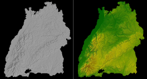 Simple visualization of the landscape of Baden-Württemberg, created with commercial visualization software.